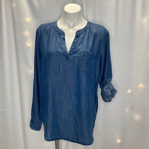 Loft Outlet Lounge Chambray Denim Tunic Top Small